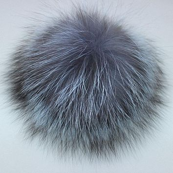 10pcs/lot DIY 8-14cm Silver Fox Fur Pompom Fur Ball For Women Kids Winter Skullies Beanies Hat And Keychain