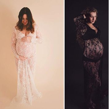 Fancy Lace Maternity Dress Pregnant Women Art Photos Long Dress Plus Maternity Photography Props Gown Maternidade Roupas