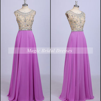 Amazing Exquisite Handmade Beading Rhinestones Prom Dress Scoop Neckline Cap Sleeves A-line Long Prom Dresses Lilac Chiffon Women Dresses