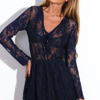 Navy Blue V- Neckline Drawstring Sheer Lace Skater Dress