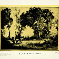 1927 Print Jean Baptiste Camille Corot Romantic Art Morning Dance Nymphs PSG1