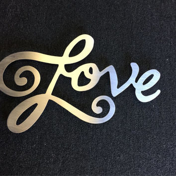 Love Metal Wall Art - Word Art - Love Art - Metal Art - Wall Art - Silver Art - Home Decor - Love Sign