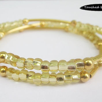 Seed and Noodle Bead Stretch Bracelets - Set of 3 - Gold Seed Beads w/Gold Noodle Beads (SN113)