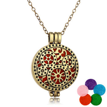 DIY Copper Essential Oil Diffuser Gear Pendant Necklace Perfume Long  Aromatherapy Locket Openable