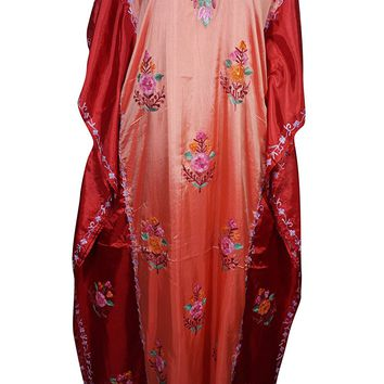 Mogul Womens Kaftan Cover Up Double Shaded Silk Floral Embroidery Caftan Maxi Dress: Amazon.ca: Clothing & Accessories