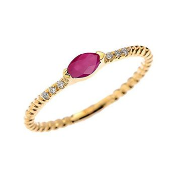 10k Yellow Gold Dainty Diamond and Marquise Ruby Rope Design Stackable/Proposal Ring (Size 6.25)