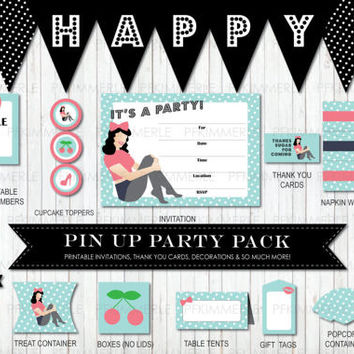 Vintage Pin Up Package, Birthday Party Decorations, DIY Party, Pin Up Vintage, Retro, Rockabilly, Ladies, Cherry, Pink, Turquoise,  PolkaDot