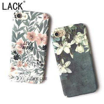 LACK Phone Cases Fashion Magnolia flower leaves Case For iPhone 7 Fundas For iPhone 7 6 6S Plus Pretty Floral Cartoon Back Cover