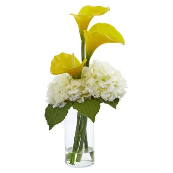 Artificial Flowers -Calla Lily and Hydrangea Yellow Cream Arrangement
