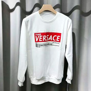 Versace New Fashion Letter Print Women Men Long Sleeve Top Sweater White