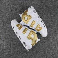 Nike Air More Uptempo 96 Fashion Women Men Casual Sports Basketball Shoes Sneakers White/Golden