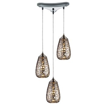 20064/3 Nestor 3 Light Pendant In Polished Chrome And Chrome Plated Ceramic Shade - Free Shipping!