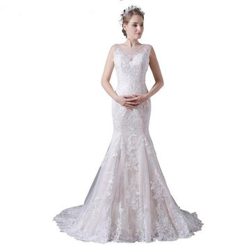 Mermaid Wedding Dress Beige Lace Bridal Sleeveless Embroidery Applique Wedding Gown