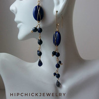 Long gemstone X earrings w crystal fringe, sodalite, swarovski crystal, gold fill, French knotted headpins