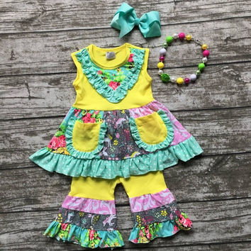 baby girls Summer spring clothes girls clothing children floral unicorn outfits ruffle capri outfits with matching accessories