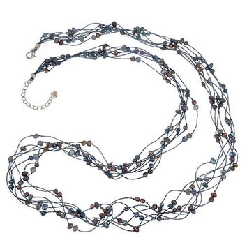 Silk Thread and Black Cultured Freshwater Pearl Multi Strand Long Cluster Necklace, 35-37 inches