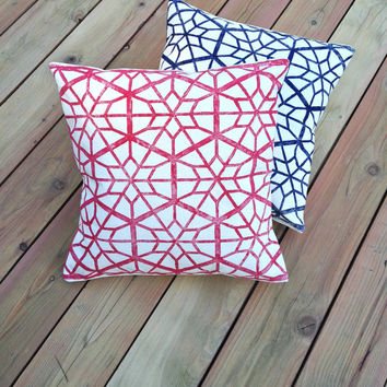 2 PC Set Nautical Star Pillow covers, Summer Decor, 4th of July, Star Throw Pillows Cottage Decor, Beach House, Mix or Match Accent Pillows