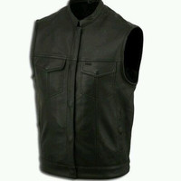 MENS LEATHER MOTORCYCLE BIKER MC CLUB VEST Conceal Carry CCW Pocket No Seam Back