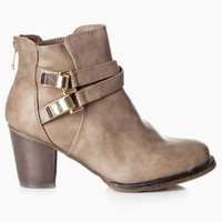 Taupe-Cross-Strap-Buckle-Ankle-Boots
