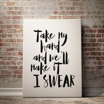 Bon Jovi Lyric Art - Take My Hand And We'll Make It I Swear - JukeBlox Song Lyric Typography Art Kitchen Decor Trivet Hot Pad Printable Art