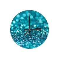 aqua glitter clock from Zazzle.com