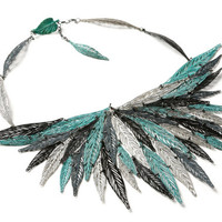 green black and oxidize silver plated necklace, patina leaf necklace, big statement necklace