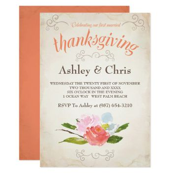 First Married Thanksgiving Invitation - Floral