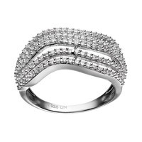 Cubic Zirconia Sterling Silver Wavy Ring (White)