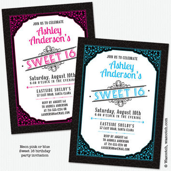 Sweet 16 Birthday Party Invitations Neon Pink or Blue and Black Vintage Scroll Typography Printed