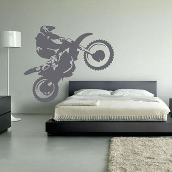 Motocross Wall Decal, Dirt Bike Decor, Motocross Decor, Dirt Bike Wall Decal, Dirtbike Decor, Motocross Theme, Personalize The Number