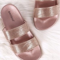 Bamboo Rhinestone Embellished Double Band Slide Sandal