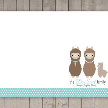 Personalized Lama Family Note Card