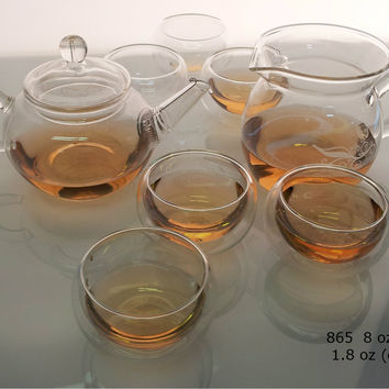 8 Piece Modern Chinese Glass Gong Fu Glass Teaset