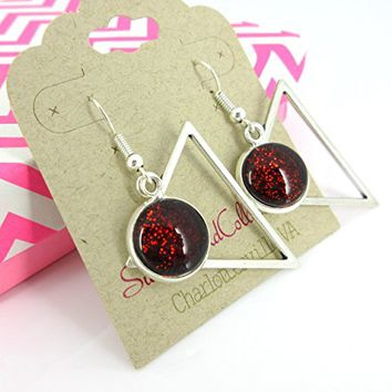 Antiqued Silver-tone Black and Color-shifting Red Glitter Glass Dangle Earrings Hand-painted