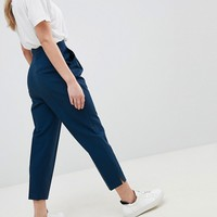 ASOS DESIGN Petite high waist tapered pants at asos.com