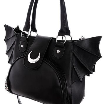 Bat night and Moon Bat wings PU leather Black Gothic Handbag