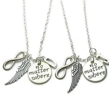 2 Best Friends Necklaces, No Matter Where Necklaces, Angel Wing Infinity Necklaces, BFF Necklaces, Friends Necklaces, Personalized
