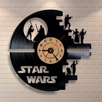 Creative Clock CD Vinyl Record Wall Clock STAR WARS Theme Home Decor