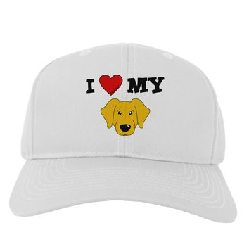 I Heart My - Cute Yellow Labrador Retriever Dog Adult Baseball Cap Hat by TooLoud