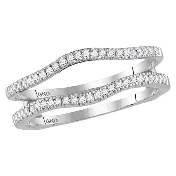 14kt White Gold Women's Round Diamond Ring Guard Wrap Solitaire Enhancer Band 1/4 Cttw - FREE Shipping (US/CAN)