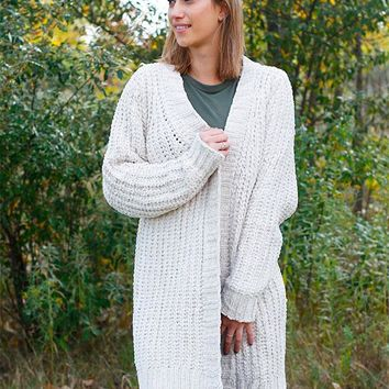 Open Front Cardigan - Almond