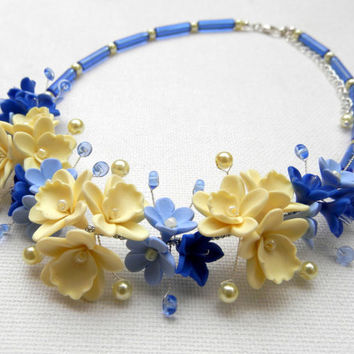 Blue - Blue necklace - Flower necklace - Orchid - Handmade polymer jewelry -  MADE TO ORDER