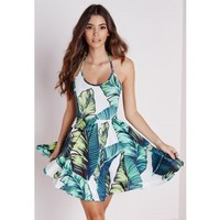 Missguided - Halterneck Slinky Skater Dress Green Leaf Print