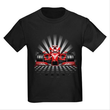 Formula 1 Red Race Car Kids Dark T-Shirt