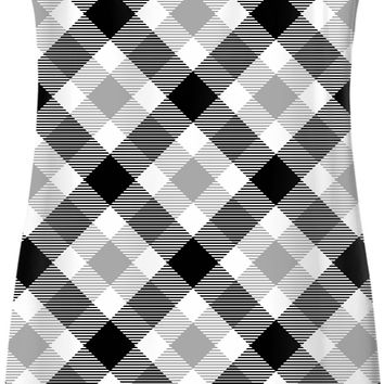 Retro scottish tartan pattern simple dress, black, white, gray chequered buffalo plaid