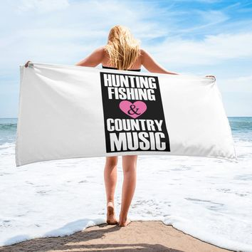 Hunting Fishing Country Music Fans Towel