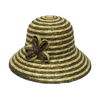 Brown Two Tone Wheat Straw Downturn Wide Brim Hat