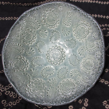 Porcelain Celedon Bowl Handmade ~ Paisley Tapestry ~ hostess / housewarming  Party Gift ~ appetizer / olive dish / soup bowl / candy dish