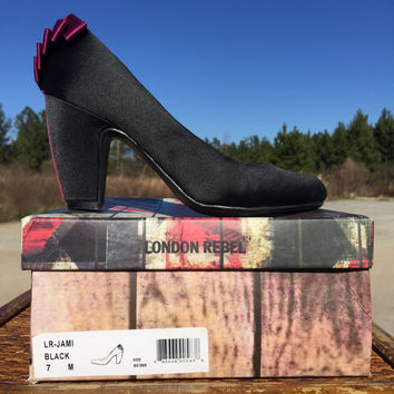 London Rebel Jami Black and Pink Heels