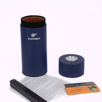 COHIBA Cigar Case Blue Carbon Fiber Cedar Wood Lined Tube Mini Travel Humidor Inside with Long Humidifier Hygrometer